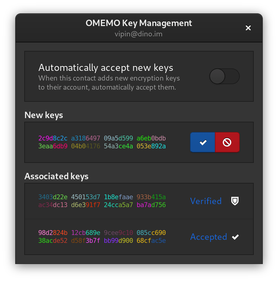 La fenêtre de gestion des clés OMEMO de Dino